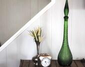 Vintage Green Hobnail Decanter
