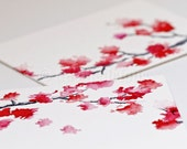 Gentle Blossoms, Cherry Blossom Series - ACEO sized, original painting by dabblelicious