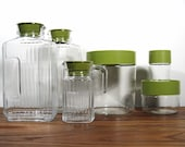 Beautiful 6 Piece Collection of Retro Glass Jar Containers - Pyrex and Arc