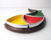 Mid-Century Danish Modern Relish Tray - Rainbow Fish Relish Dish Wood and Melamine