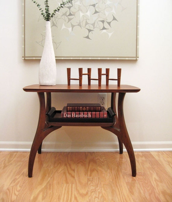 Mid-Century Danish Modern Style End Table with Biomorphic Legs