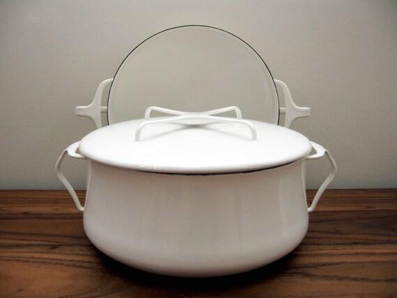 DANSK Kobenstyle Large White Enamel Pot and Paella Pan