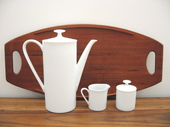 Late Mid Century Arzberg Germany Athena White Coffee Service