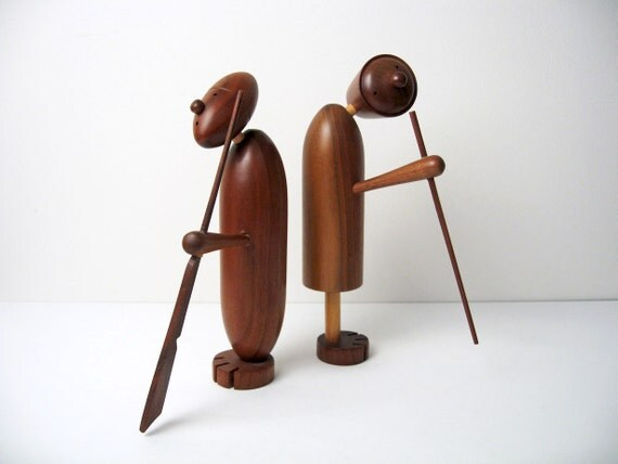 "Danish Modern Style Walnut / Teak Figurines - 10"" Hand-Crafted Table Sculptures - Hans Bolling / Kay Bojesen era"
