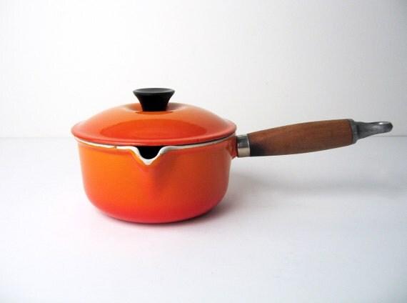 Le Creuset Mid-Century Cast Iron Sauce Pan No. 14 Flame Orange Enamel and Wooden Handle