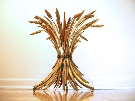 Italian Gilt Sheaf of Wheat Side / End Table - Mid Century Hollywood Regency Style - Decorator Item