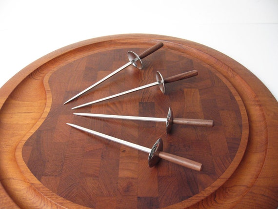 Danish Modern Rosewood Cocktail Skewers - New in Box Mid-Century Hors d'Oeuvres Servers