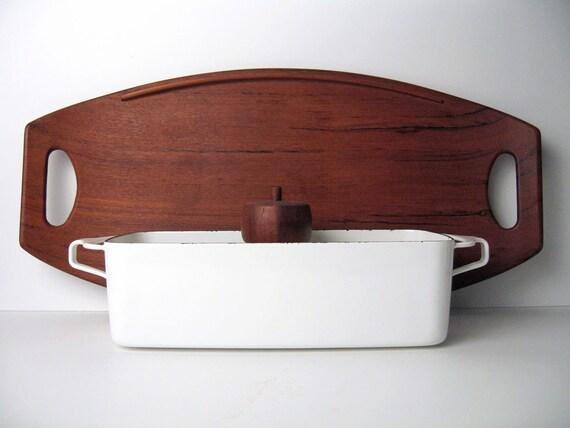 DANSK Bread Baking Meatloaf Pan / Dish in White - Mid-Century Dansk Enamelware