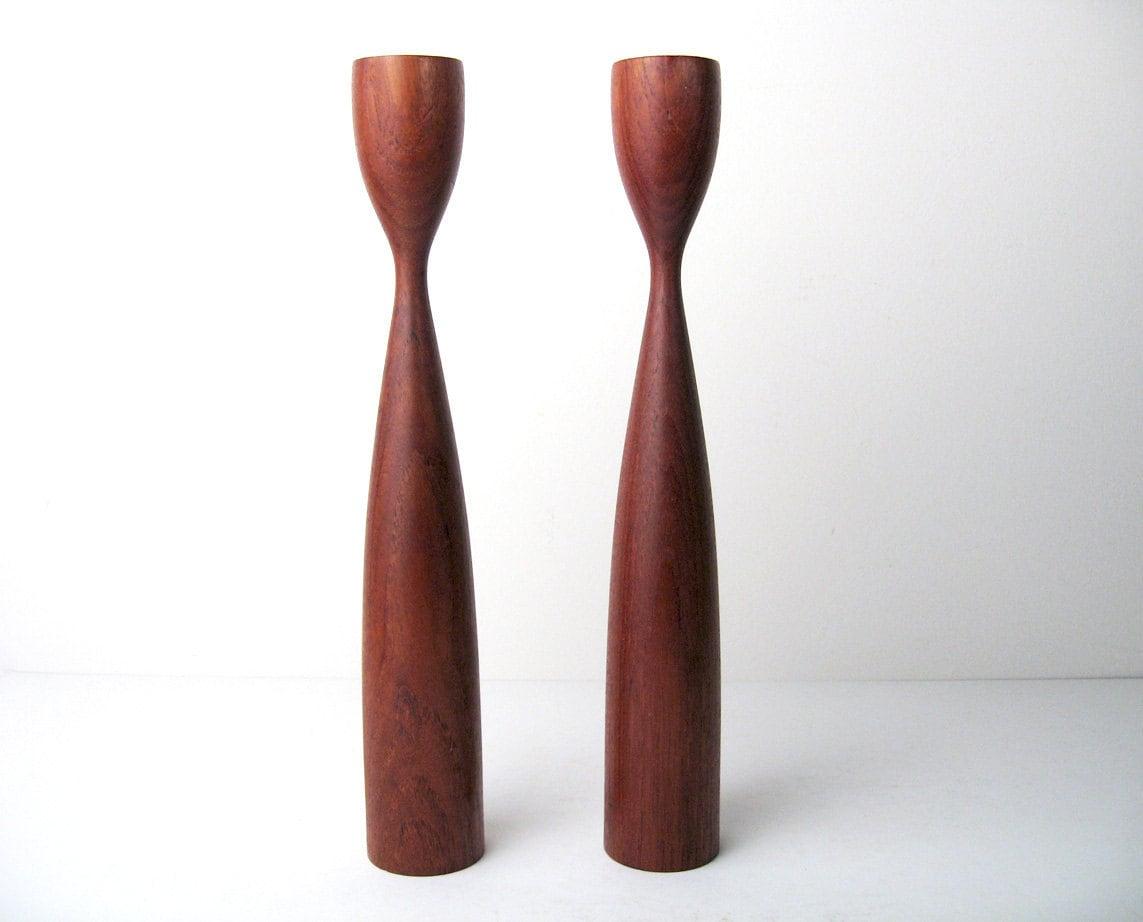 Mid Century Danish Modern Teak Candlesticks Kalmar Designs