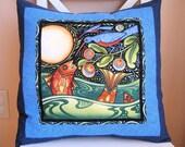SALE, Accent Pillow, Oceanica Fish and Bird Pillow, Folk Art