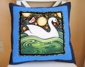 SALE, Oceanica Swan Pillow, Folk Art