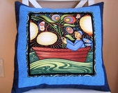 SALE, Accent Pillow, Chinese Lantern Boat, Oceanica, Sea Folk, Pillow