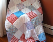 Patriotic Red White and Blue Quilt, Patchwork Button Quilt,