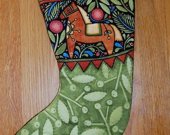 Christmas Stocking, Folk Art, Horse, Hand Quilted