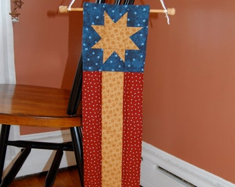 SALE, Americana folk wall hanging / stars and stripes