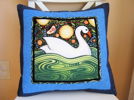 SALE, Oceanica Swan Pillow, Folk Art