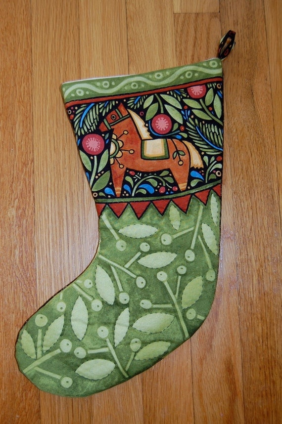 HOLIDAY SALE, Christmas Stocking, Folk Art, Horse, Hand Quilted