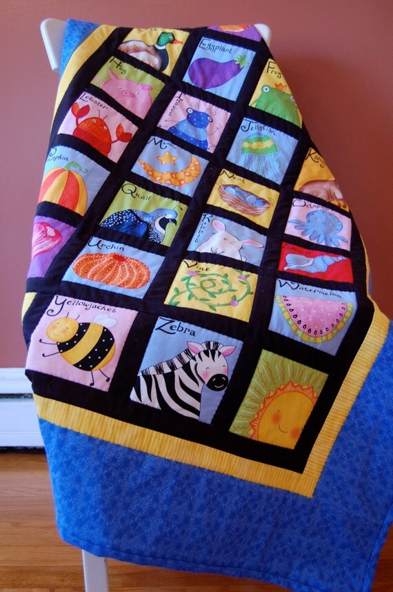 Baby Quilt, Alphabet Quilt, A to Z Picture Quilt