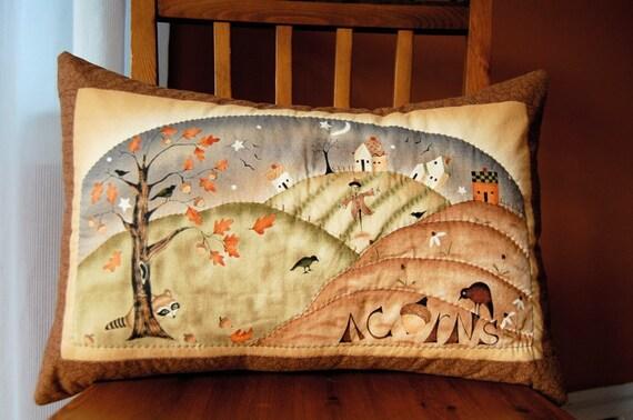 Folk Art Primitive Pillow, Harvest Town, Thanksgiving, Fall