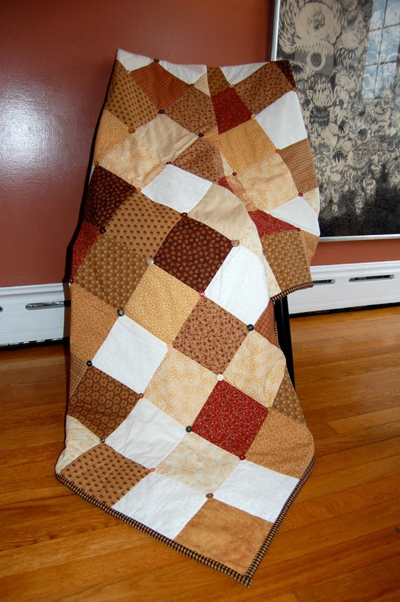 Button Throw Quilt, Natural Tones, Traditional Patchwork Quilt