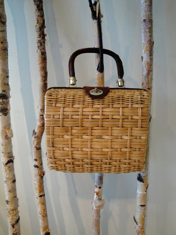 60's Woven Straw Summer Picnic Purse