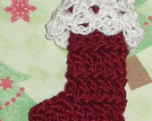 Reserved for PrincessJesska56 Crocheted Christmas Stocking - Burgundy with White Cuff