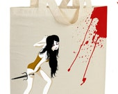 Geisha Print  White Cotton Tote Bag  Demon Geisha