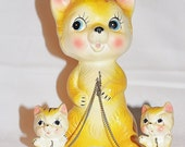 1950's Ceramic Cat with Kittens on Chains