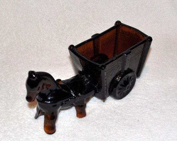 Brown Depression Glass Horse & Wagon Planter