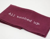 "Tea Towel, Linen Plum ""All washed up"""
