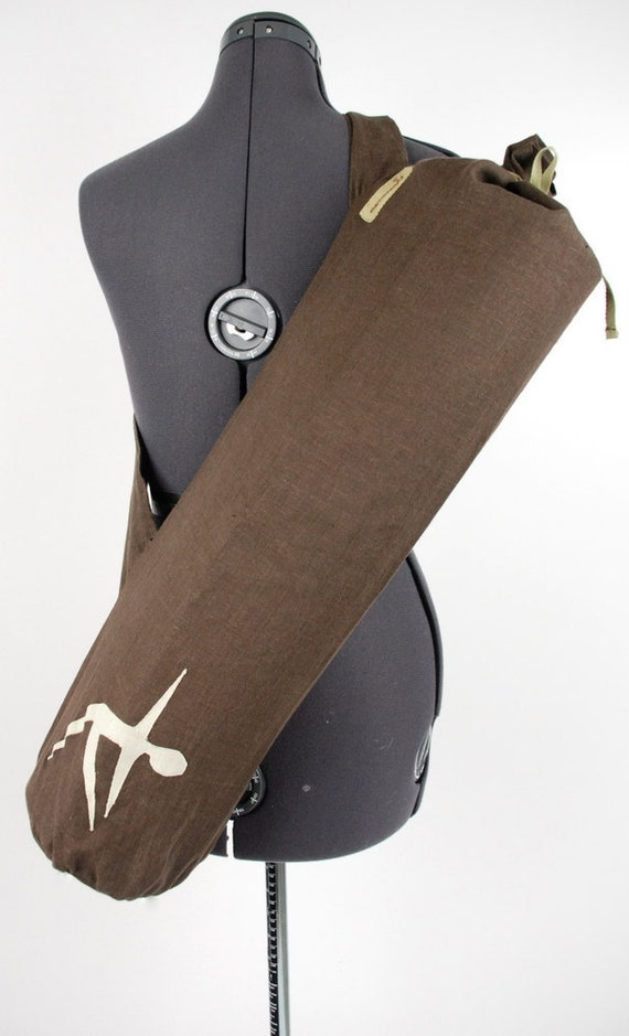 Yoga Mat Bag - Brown Linen with Natural Applique