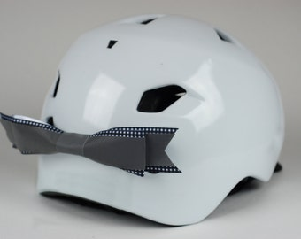 Gingham Reflective Bike Helmet Bow