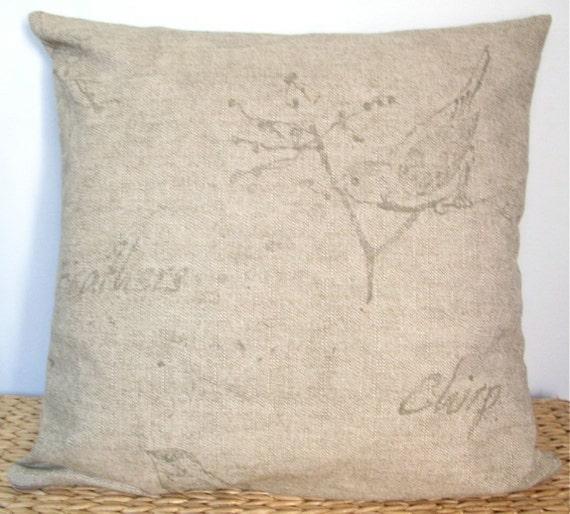 """SALE - Pair of Bird Linen 16"""" Pillow Covers"""