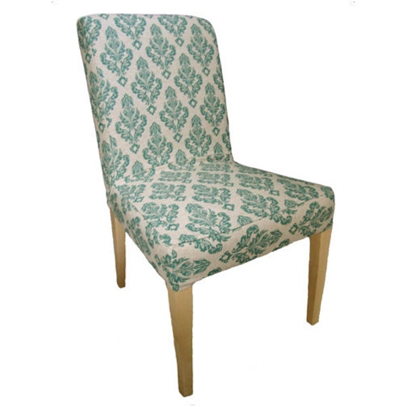 items similar to damask slipcover for ikea henriksdal dining chair in teal on etsy. Black Bedroom Furniture Sets. Home Design Ideas