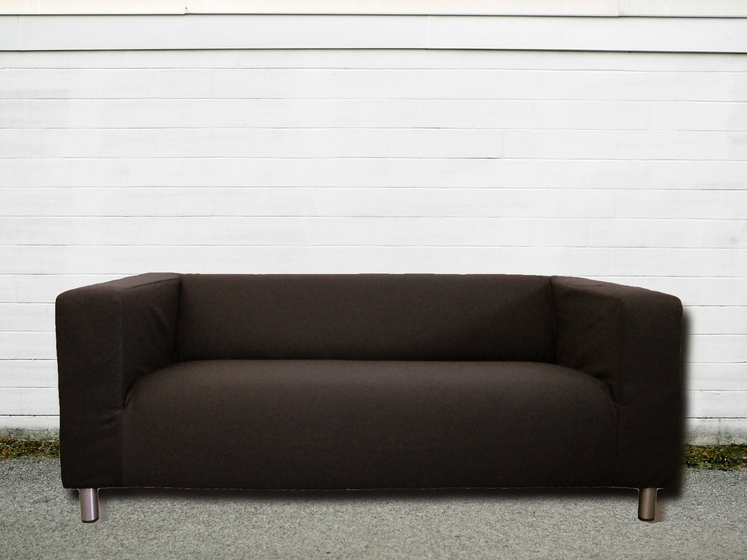 Custom ikea klippan loveseat slipcover in espresso brown twill - Klippan sofa ikea ...