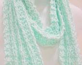 Cotton Handknit Scarf, Lightweight Womens Scarves, Cotton Scarves, Womens Accessories, Aqua