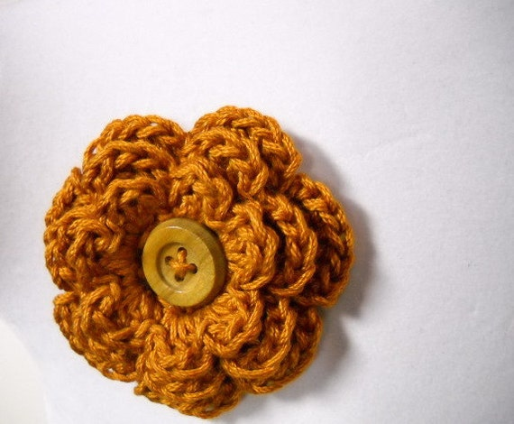 Crocheted Scarf Pin Lapel Pin Hair Clip in Rust