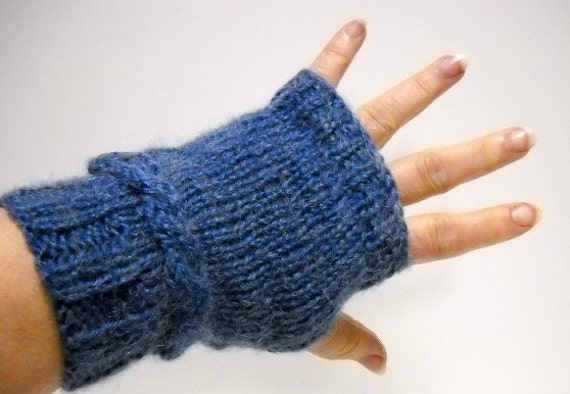 Fingerless Mitts Texting Gloves Knit with Braided Trim