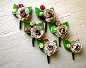 Six Green, Fuchsia and Book Page Rose Paper Flower and Button Boutonniere for Wedding or Event  by The Little Red Button on Etsy