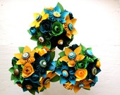 Paper Flower Bouquet, 3 Bridesmaid Bouquets, Wedding, Blue, Green, Yellow, Kusudama, Rose