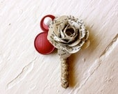 Paper Flower Boutonniere, Wedding, Book Page, Buttons, Rose
