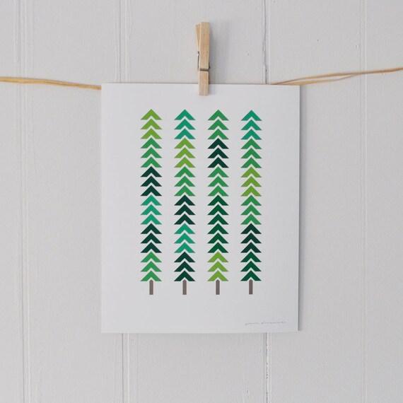 Geometric print, abstract trees: 8 x 10