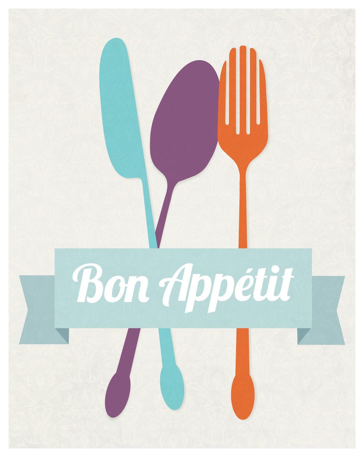 Bon Appetit Kitchen Art Flatware Utensil Print 11 X 14