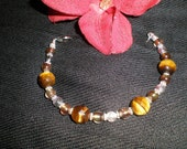 Tigers Eye and Glass Beaded Bracelet- Tiger Lily