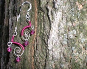 Hammered Sterling Silver Fuchsia Wire Wrapped- Bright Pinks