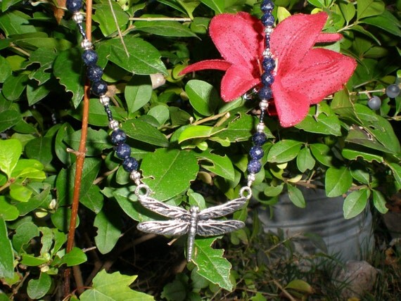 Blue Sunstone Gemstone Beaded Necklace with Large Silver Dragonfly Charm- Dragonflies of Blue
