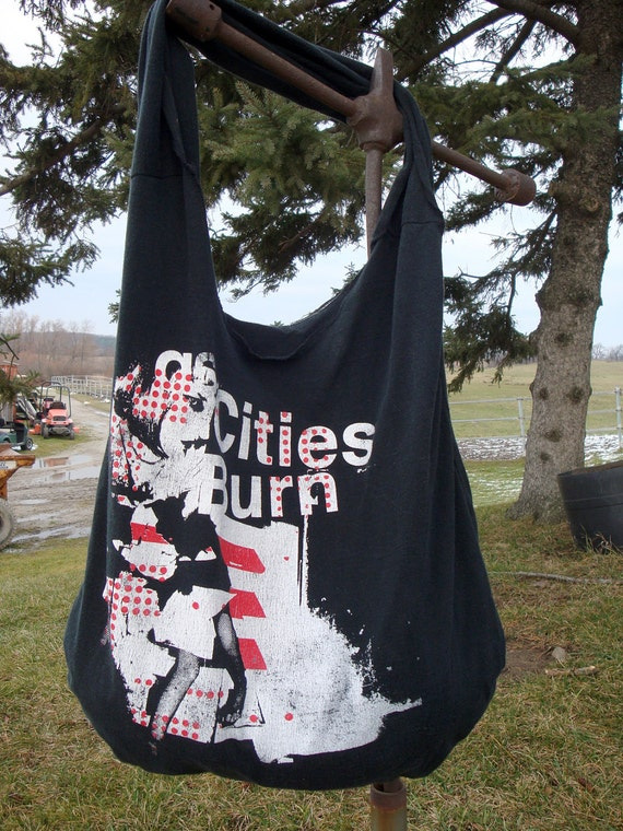 As Cities Burn- T Shirt tote bag- Reclaimed T Shirt- Upcycled T Shirt