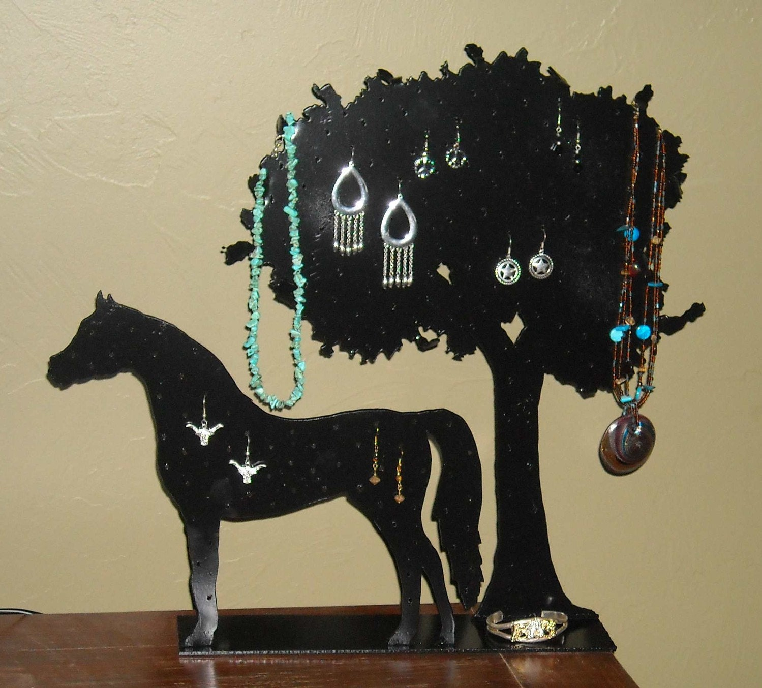 Horse Tree Earring Necklace Holder Display By Metalartbyus