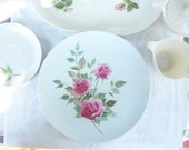 Vintage Melmac Dishes Set - White and Pink Roses