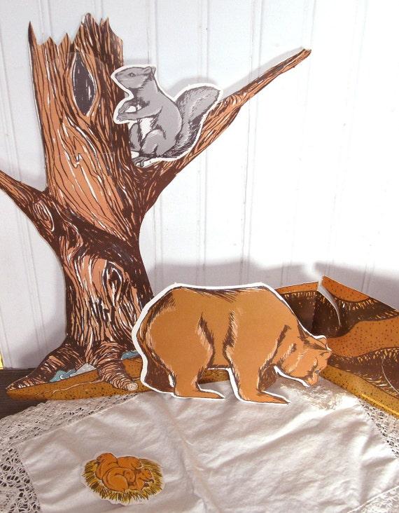 Vintage School Ephemera - Animals in the Woods Flannel Board Visual Aids